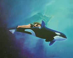 Original oil on canvas painting by Cecilia Brendel - Orca Rider, my daughter Kristina is the rider on one of her favorite whales Fantasy Paintings, Fantasy Art, Orca Art, Whale Nursery, Whale Tattoos, Underwater Art, Human Art, Killer Whales, History