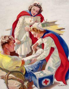 Helping the Wounded - probable Red Cross advertisement - illustrated By Ellen Barbara Segner. Vintage Nurse, Vintage Medical, Vintage Ads, Vintage Posters, History Of Nursing, Nurse Art, American Red Cross, Original Art For Sale, Figure Painting