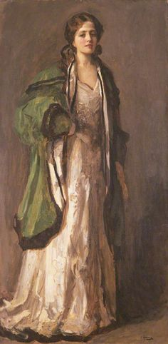 Portrait of a Lady in a Green Coat (Sir John Lavery, R.A. - 1903)