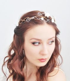 Ethereal bridal tiara, white hydrangea flower crown, hair circlet, wedding accessory - Adelaide's crown
