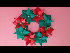 Origami Christmas wreath instructions 折り紙 クリスマスリースの簡単な折り方 - YouTube
