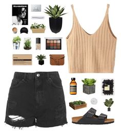 """""""COMMUNICATION my man"""" by smoothpeanutbutter ❤ liked on Polyvore featuring Topshop, Campania International, Birkenstock, WithChic, Aesop, The Fine Bedding Company, Dorothy Perkins, Viseart, NARS Cosmetics and CO"""