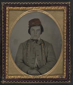 Artillery soldier in Confederate uniform and kepi hat - hand tinted