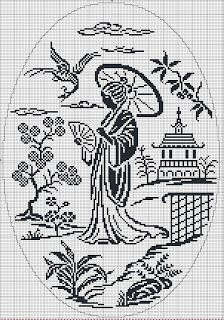 Traditional Chinese woman - Chart for cross stitch or filet crochet. Filet Crochet Charts, Crochet Cross, Thread Crochet, Cross Stitch Charts, Cross Stitch Designs, Cross Stitch Patterns, Cross Stitching, Cross Stitch Embroidery, Embroidery Patterns