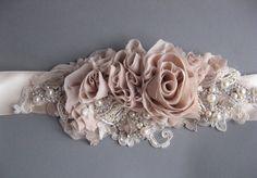 Wedding bridal sash belt Vintage Nude Terracotta Ivory Champagne romantic - dress ribbon rustic accessory lace pearls rhinestone crystal.