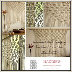 Modern Macrame Wall-hanging/ Bedhead/ Curtain. Natural Cotton and Timber http://stores.ebay.com.au/naddiesnicknacks