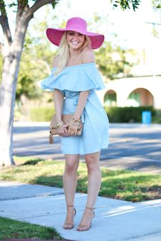 How to wear an off the shoulder dress Off The Shoulder, Shoulder Dress, Pink Accents, New York Fashion, Lilly Pulitzer, Summer Outfits, Spring Summer, Style Inspiration, Lifestyle