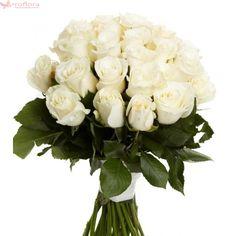 White Bloom - Buchet de 19 trandafiri alb crem