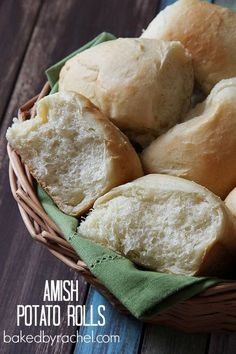 Amish Potato Rolls Recipe from http://bakedbyrachel.com The perfect soft and fluffy dinner rolls that are full of flavor and easy to make!