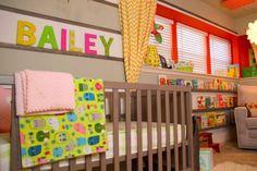 quarto de bebê irmãs colorido
