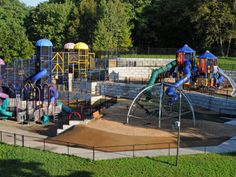 Hyland Lake Park Reserve Play Area aka the Chutes and Ladder park.  Best for older preschooler and up because it can get kind of crowded and the kids need to be to climb around independently.