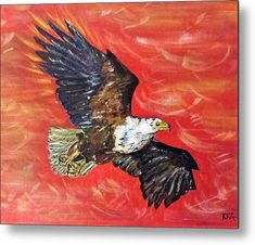 """Freedom to Soar: An acrylic painting of an eagle printed on to a 1/16"""" thick aluminium sheet to produce a high gloss effect by Kelly Goss Art. Mounted on a wooden frame and delivered """"ready to hang"""". Perfect to brighten up and decorate your home. Fit for any wall in any room. The special gift to spice up a friend's home decor. For a lover of animals, African wildlife and bird art."""