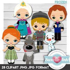 Frozen Clipart Digital Kawaii Anna Elsa Kristoff Hans Sven Olaf