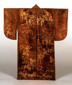 """Surihaku Noh Costume - """"Rubbed metal foil."""" A decorative technique for textiles in which metal foil is impressed on a design first drawn in paste."""