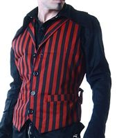 ALEX VEST RED AND BLACK #goth #gothic #punk #punkrock #rockabilly #psychobilly #pinup #inked #alternative #alternativefashion #fashion #altstyle #altfashion #clothing #clothes #vintage #noir #infectiousthreads #horrorpunk #horror #steampunk #zombies #burningmanclothing #hilary's vanity
