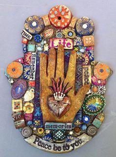 Mixed media Hamsa by Laurie Mika Hamsa Art, Hand Of Fatima, Clay Art, Clay Clay, Jewish Art, Paperclay, Arte Popular, Assemblage Art, Mexican Folk Art