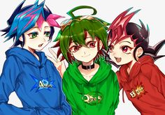 Haha look at the shirts closely. yuya's says arc-v yuma's says zexal and i forgot his name's says AD although i don't know what that one means. Yugioh Dragons, Yu Gi Oh Zexal, Yu Gi Oh 5d's, Anime Crossover, Otaku Anime, Manga Games, Anime Shows, Anime Love, Suckers