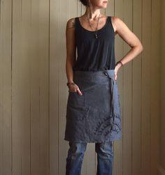 Carbón de leña cáñamo azul Cafe delantal. Textura por untoldimprint
