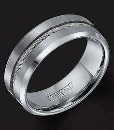Tungsten Wedding Bands Cable Inlay