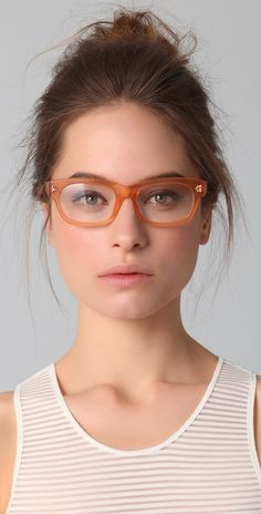 gema laswells geeky doggy peach clear eyeglasses frames by matthew williamson