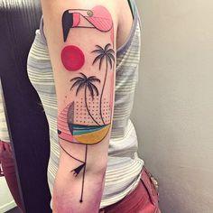 Sem contorno, o belga Sydney Mahy brinca com formas e cores na pele e cria alegres tatuagens contemporâneas - Follow the Colours