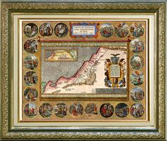 Map of Chanaan Holy Land from 1696 with Bible scenes, Vintage map printed on parchment paper, $9.90
