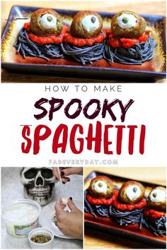 Easy Halloween Food Idea: Spooky Spaghetti Recipe by Fab Everyday! - #repashalloween - Super simple Halloween food idea: Spooky Spaghetti! This creepy-but-cute, easy Halloween recipe is full of shortcuts and will be on your table in no time.... Buffet Halloween, Creepy Halloween Party, Halloween Party Appetizers, Fete Halloween, Halloween Drinks, Halloween Food For Party, Halloween Desserts, Halloween Cakes, Halloween Stuff