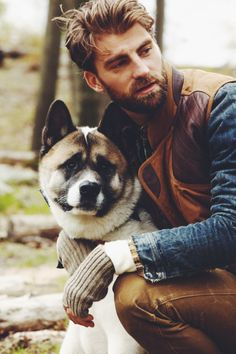 Character inspiration, hot, scruffy guy with dog