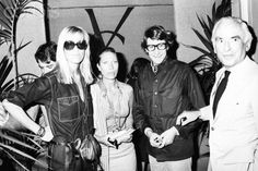 Betty Catroux, Helene Rochas, and YSL.  Photo by Guy Marineau at YSL's FW show in Paris, 1976.