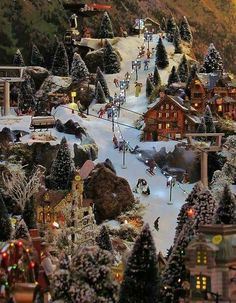 I would have dreams of building up the Ski Resort with hillside shops we skied at and my husband Mountain managed. a lot like this Christmas village! by MarylinJ Christmas Village Display, Christmas Town, Magical Christmas, Christmas Scenes, Christmas Villages, Noel Christmas, Beautiful Christmas, Winter Christmas, Vintage Christmas