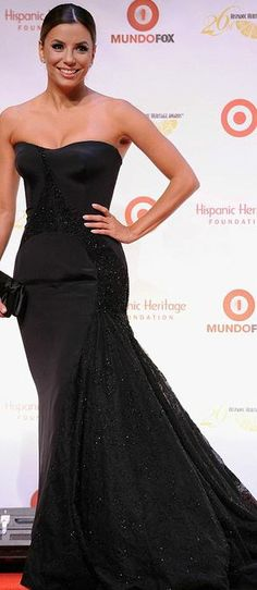 Who made  Eva Longoria's black strapless gown and shoes?