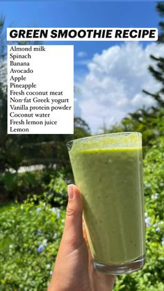 Almond Milk Smoothie Recipes, Healthy Juice Recipes, Weight Loss Smoothie Recipes, Healthy Green Smoothies, Green Smoothie Recipes, Healthy Juices, Smoothie Drinks, Smoothie Diet, Detox Drinks