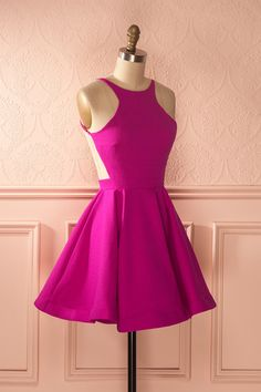 Robe trapèze rose fuchsia dos ouvert - Pink open-back a-line dress