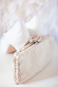 Evening Clutch -- See more on  http://www.StyleMePretty.com/midwest-weddings/2014/04/04/classic-blush-peach-ohio-statehouse-wedding/ Photography: AmandaWilcher.com