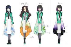 So, in Mahouka Koukou no Rettousei (i. The Irregular at Magic High School), the girls' school uniform incorporates this strange translucent cape-like feature. School Uniform Anime, Mahouka Koukou No Rettousei, Uniform Design, High School Art, Girls Uniforms, Light Novel, Anime Outfits, Magical Girl, Girls Wear