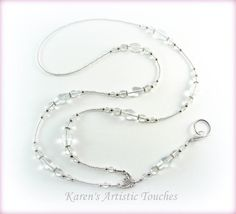Clear Elegant Glass Beaded Lanyard ID Badge von ArtisticTouches