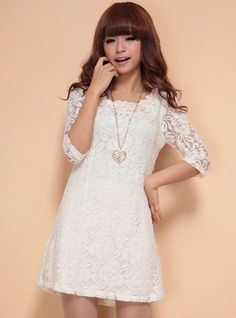 White Flower Collar Lace Dress