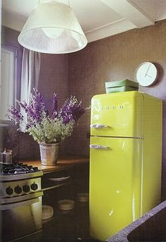 green refrigerator and lavender