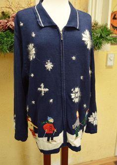 Holiday Lodge Nordic Snowflake Skier Border Sweater 2X Warm Cute Jeans Plus Sz #HolidayLodge #Cardigan