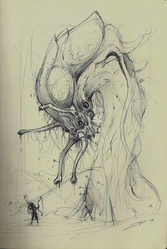 BR's SkEtChOnIcS Monster Sketch, Monster Art, Creature Concept Art, Creature Design, Alien Creatures, Fantasy Creatures, Character Art, Character Design, Lovecraftian Horror