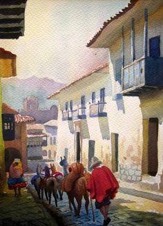 calle san juan de dios Watercolor Portraits, Watercolor Art, Landscape Art, Landscape Paintings, Peruvian Art, Country Landscaping, Building Art, Z Arts, Home Art