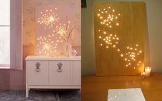 plain canvas, paint color of your choice, punch holes with awl, push through white Christmas lights,,,,,done.