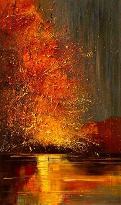 "Saatchi Online Artist: Justyna Kopania; Oil, 2011, Painting ""River..."" Incredible use of light to make an image. I wonder if it is a warm autumn night? Or, is it chilly? This artist is new to me and so far has really got my heart."