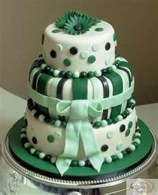 Green and dark green cake
