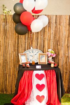 Red/black/white balloons - use tulle over to make more formal