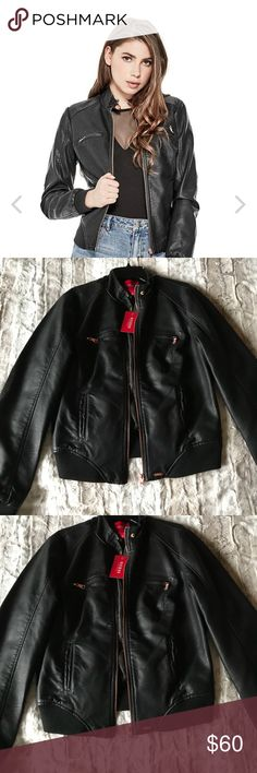 Guess - faux leather jacket NWT Size Medium black with rose gold zippers Guess Jackets & Coats