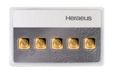 5 x 1g Gold Bullion | Heraeus Multicard Gold Bar | goldankauf-haeger.de