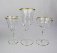 Vtg Clear Glass Barware w/ Double Gold Bands-Cordial-Wine-Champagne-U Choose #Unbranded