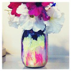 Beautiful painted mason jar