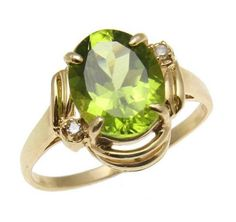2.28CT 7.9X9.8MM GENUINE OVAL PERIDOT & DIAMOND RING IN SOLID 14K YELLOW GOLD